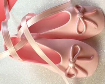 Custom Edible pink ballet slippers ballerina shoes gum paste fondant cake topper.