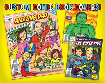 Custom SUPERHERO Comic Book Cover CARICATURE of Family - Personalized Fantasy Illustration