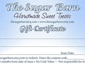 GIFT CERTIFICATE from The Sugar Barn*Gift Card*Birthday Gift*Teacher Gift*Chocolate Gift Card*Just Because Gift*Secret Santa*Candy Gift
