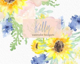 Watercolor clipart Bouquets