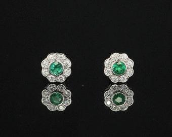 Vintage natural emerald and diamond flower cluster stud earrings