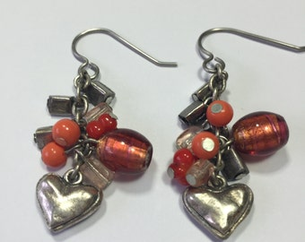 Chicos vintage earrings ~ Muted Silver and Orange Heart earrings ~ Hearts 1 1/2""