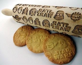 STAR WARS Embossing Rolling pin.  Wooden laser engraved rolling pin with Star wars pattern