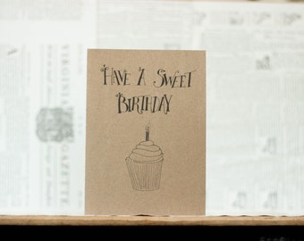 Have a Sweet Birthday: Cupcake Birthday Card, Brown Kraft Paper