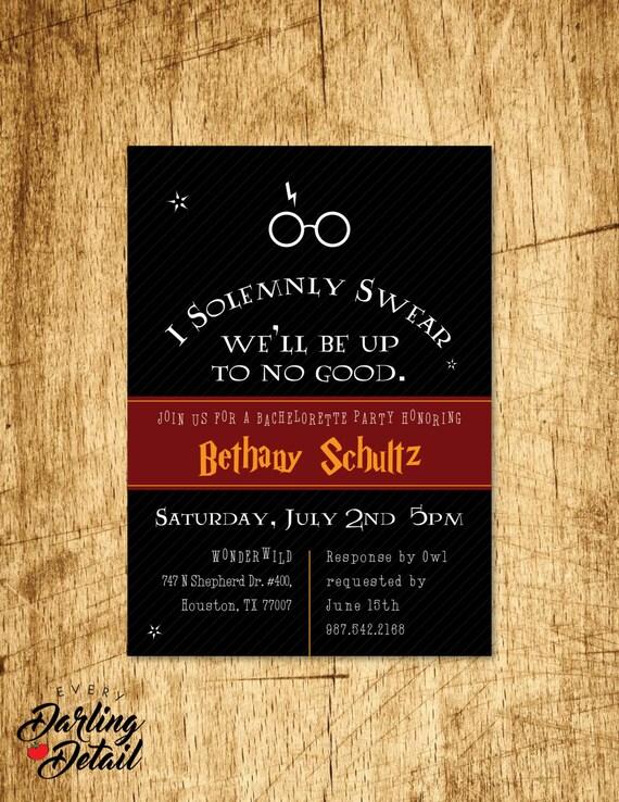 Harry Potter Inspired Bachelorette Party Invitation Custom