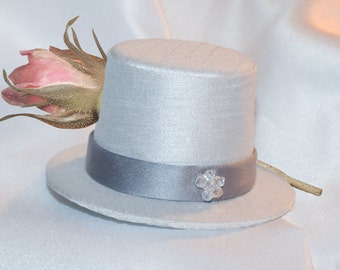 Splendor, Custom Dog Top Hat in Pearl Grey Dupioni, Dark Grey Satin Band, Lined. Crystal Accents, all sizes