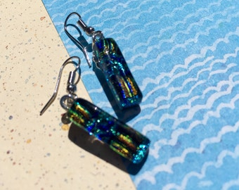 Fused Glass Earrings in Summer Sparkle