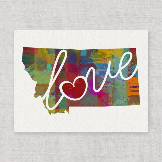 Montana Love Mt Canvas Paper Print By Traciwithanidesigns