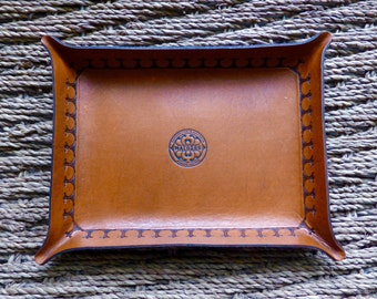 Brown Leather Tray | Leather Catch-all Tray | Leather Valet | Handmade in Australia
