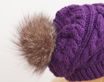 Dark Purple Hat,Winter Hat,Womans Hat , Natural Fur Pom Pom,Hand Knitted Hat,Handmade Cap,Natural Fur,Knitted Cap,Handmade Hat
