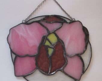 Stained Glass Orchid Suncatcher