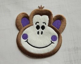 9.5 x 10cm, Super Cute Purple Ear Happy Monkey Iron On Patch (P-279)