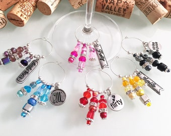 Personalized Wine Charms, Unique Wine Charms, Wine Accessories, Wine Charm Favors, Girls Night Out, Wine Gift, Handmade by LasmasCreations
