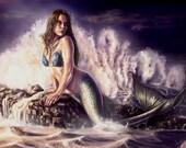 Mermaid On A Rock - Digital Art, Mermaid Gift, Mermaid Art, Fantasy Art, Mermaid illustration, Digital Art Download, Digital illustration