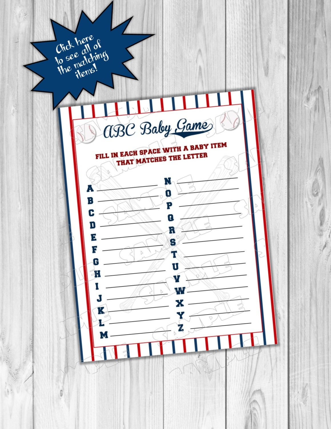 baseball baby shower abc baby game printable by greenmelonstudios