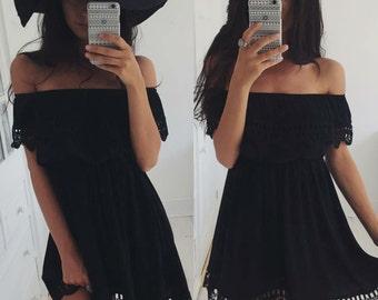 Off The Shoulder Lace Black Summer Dress