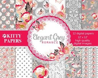 "Flower digital paper : ""Elegant Grey Romance "" grey digital paper wit pink flowers, pink and grey digital paper, shabby chic backgrounds"