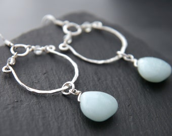 Aqua, Amazonite, Sterling Silver, Hoop Earrings, Teardrop Earrings, Gemstone, Briolette Earrings, Wedding Earrings, Robin's Egg Blue, Boho