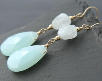 Aqua Chalcedony, Aquamarine, Teardrop Earrings, 14K Gold Fill, Gemstone Briolette, Dangle Earrings, Wedding Earrings, Natural Aquamarine