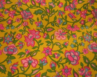 Vintage Lotus Blossom Chintz Fabric 1 + Yard Unused