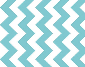 "20"" x 20"" Laminated Cotton Fabric Aqua & White Medium Chevron by Riley Blake Designs"