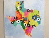 """Original abstract painting by Rita Ortloff 12""""x12""""x2"""" - """"Texas"""""""