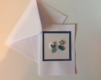 Butterfly card, blue seaglass butterfly notecard, blank greetings card, sea glass and pottery picture