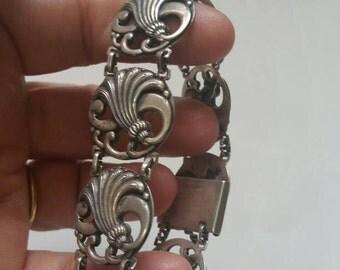 Art nouveau sterling silver panel bracelet