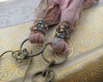 SALE~As seen on cover of Belle Armoire magazine, Sari silk tassel earrings, fair trade recycle silk, textile earrings, long shoulder dusters