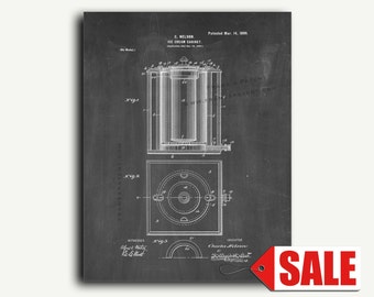 Patent Print - Ice-Cream Cabinet Patent Wall Art Poster