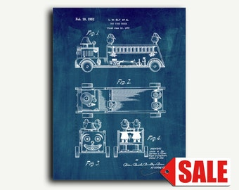 Patent Print - Toy Fire Truck Patent Wall Art Poster
