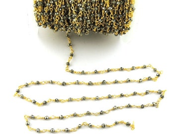 Wholesale Bulk 50 FEET Black Pyrite Rosary Style Beaded Chain wire wrapped 24k Gold Plated chain