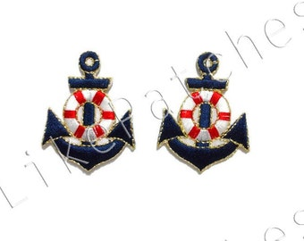 Set 2pcs. Anchor - Dark Blue Color - New Sew / Iron On Patches Embroidered Applique Size 3.2cm.x4.2cm.