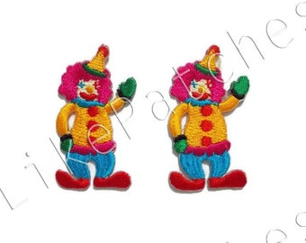 Set 2 pcs. Circus Joker Smiley face New Sew / Iron On Patch Embroidered Applique Size 2.7cm.x4.5cm.