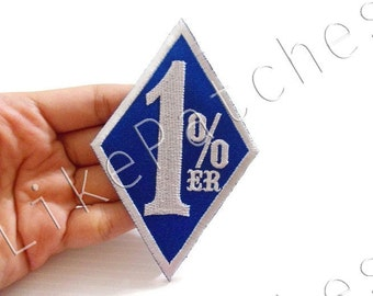 1%ER Biker Motorcycle Blue Patch New Sew / Iron On Patch Embroidered Applique Size 5.7cm.x9cm.