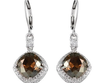 Golden Crystal Made With SWAROVSKI White Topaz Lever Back Earrings in Platinum Bonded Brass TGW 6.45 cts.