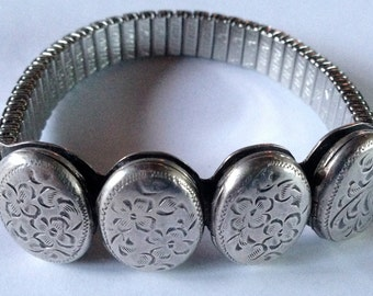 Antique Engraved Sterling Silver Bracelet with Four Lockets