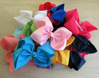 15 pcs 8 inch hair bows for girls, baby girls hair bows, large hair bow , bow girl hair,  teens hair bow,classic hair bows W