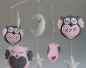 SALE!!! Owl mobile pink grey owl musical mobile felt owl moon star lullaby owl mobile decorations pink grey nursery decor musical mobile