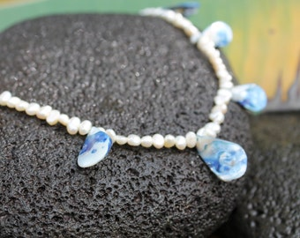 Beach Shell and Pearl Necklace in Creamy White and Blues