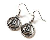 Silver Sailboat Earrings, Boat Earrings, Nautical Jewelry, Sailboat Charm Earrings, Women's Jewelry, Boat Hoop Earrings, Gifts Under 5