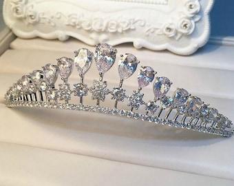 Swarovski Bridal Tiara, Vintage Bridal Tiara, Wedding Tiara, Crown Tiara, Hairpiece Princess