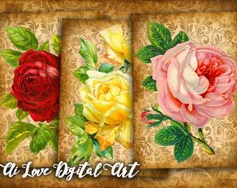 Instant download card making, Vintage Roses, digital collage sheet vintage ephemera, gift tags printable images, greeting cards, aceo cards