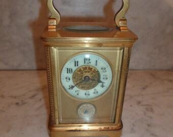 Antique Napoleon III brass travel clock – circa 1880
