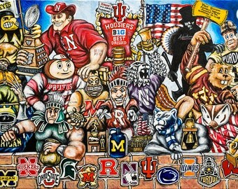 "Football Sports Art ""Big 10 Trophy Party"" Print from Thomas Jordan Gallery"