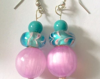 Blue and pink European charm earrings