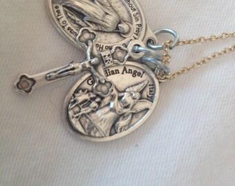 Gold Chain with 3 Christian Charms. Miraculous prayer charm, Italian Crucifix, Guardian Angel Charm