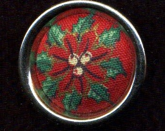 Button Vintage Red Fabric in Metal, Med.