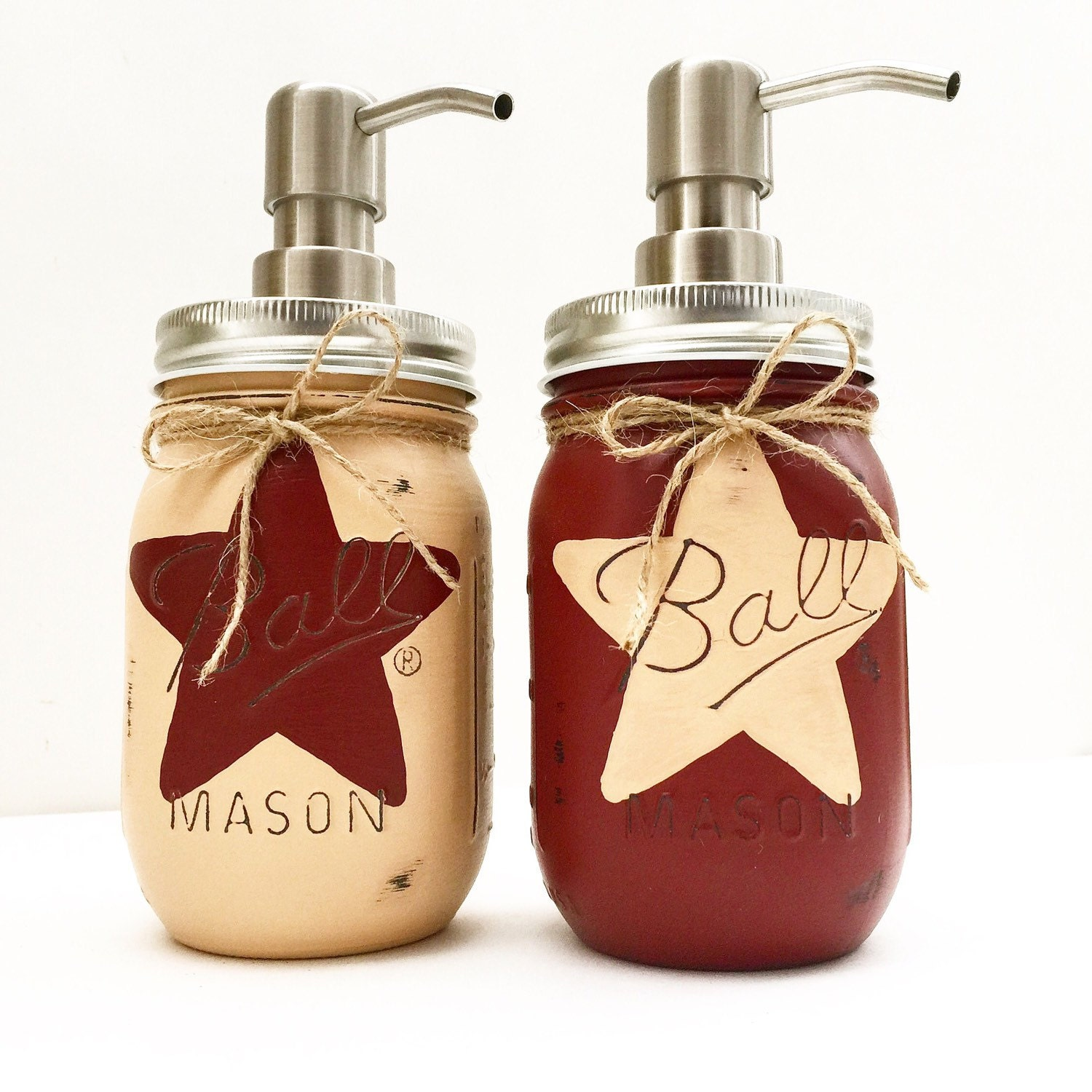 Bathroom Accessories Etsy set of 2 rustic star mason jar soap dispensers rustic star