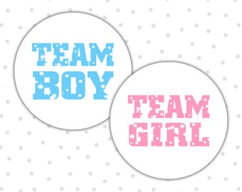 Team boy team girl stickers - Gender reveal stickers - Gender reveal party - Boy or girl - He or she - Pink or blue (RW014)